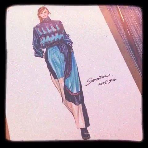 服装手绘##美拍时装周##女神##水彩绘##手绘水彩画